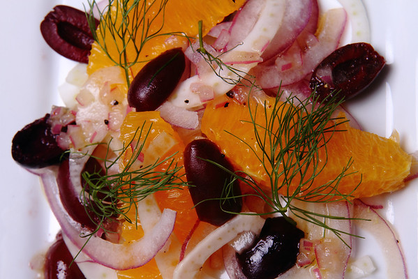 Shaved Fennel & Red Onion with Orange Supremes & Kalamata Olives dressed with an Orange Honey Vinaigrette. This is the salad course at our 2013 pop-up restaurant -- La Jeunesse.