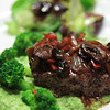 Pan Seared Filet of Beef on a Coulis of Brocolli, Peas, Yogurt & Six Italian cheeses, topped with sauteed Onion, Peppers & Mushrooms in a Red Wine, Balsamic Reduction.