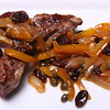 Lamb Chops topped with Peperonata (Yellow Bell Pepper, Onion, Anchovy, Garlic, Raisins and Capers in a Sweet & Sour Sauce).