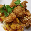 Coconut & Beer Battered Shrimp with Mango-Orange Chutney on a bed of Brown Basmati Rice.