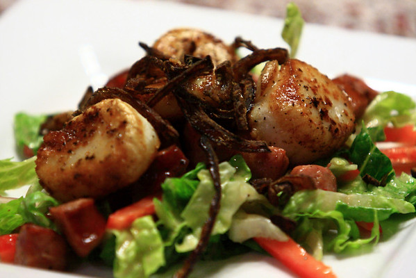 Seared Scallops, Crispy Fried Andouille & Red Onion on a bed of Hearts of Romaine dressed with Dijon Sherry Vinairgrette Dressing -- a glorified (and extremely tasty) chef's salad.