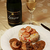 Nancy's Birthday Dinner - Pan Seared Sea Scallops with a Morel Mushroom Cream Sauce, Three Pepper Risotto topped with Garlic Shrimp, Real Champagne!