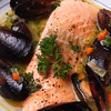 Salmon & Mussels poached in Saffron Broth.