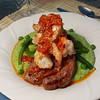 For our 33rd anniversary: Grilled Lamb Chops & Grilled Spicy Prawns (topped with a drizzle of tomato butter seasoned with thyme, lemon & hot chili) on a bed of Garden Puree (snap peas, peas, green beans, asparagus, scallion, ricotta & olive oil).
