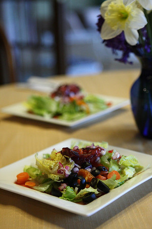 Springtime table at the Heykes Haus: Garden Salad with Blood Orange Vinaigrette.