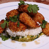 Pan Fried Coconut & Panko Crusted Shrimp with Rice & Pineapple, Ginger, Spinach Salsa.