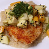 Lightly Breaded, Pan Fried Dory with Celery Root Puree and topped with Avocado Mango Apple Sesame Seed Salsa