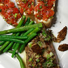Grilled Tuna with Morel Vinaigrette, Crostini topped with fresh Chevre & Herbed Tomatos, Buttered Green Beans & Asparagus.