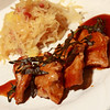 Medallions of Pork with Sherry Vinegar Sauce (a Jus de Veau Lie with a gastrique of Sherry Vinegar & Brown Sugar) and a side of Saurkraut with Apples, Onion & Bacon. Tasty!
