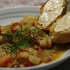 Marseille Style Shrimp Stew - Shrimp with Fennel, Onion, Tomato & Garlic in a White Wine, Clam Juice broth, seasoned with Saffron, Clove & Orange Zest, served with French Bread toasts topped with a tangy, garlicky Rouille.