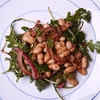 Arugula, White Bean & Red Onion Salad dressed with Balsamic Vinaigrette.