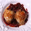 Oven Roasted Boneless Quail filled with Shrimp, Garlic & Onion Stuffing served with Red Wine braised Radicchio & Red Bell Peppers, drizzled with a spicy reduction of Shallots, White Wine & Tabasco.