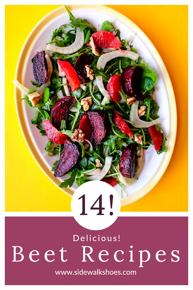 Beet salad with text reading 14 delicious Beet Recipes.