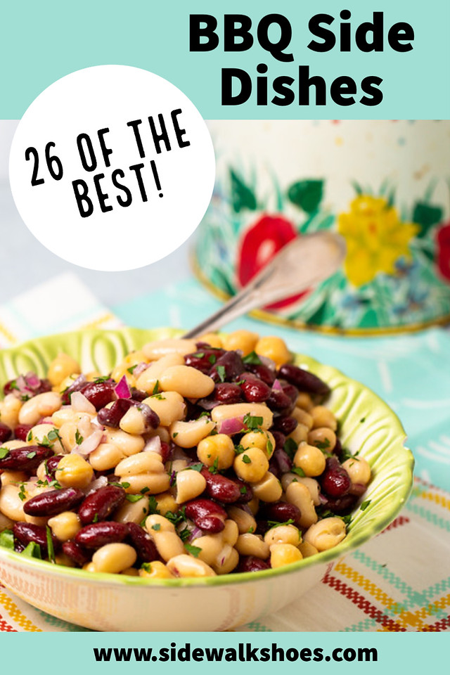 Bean salad in a bowl with text reading 26 of the best BBQ side dishes.