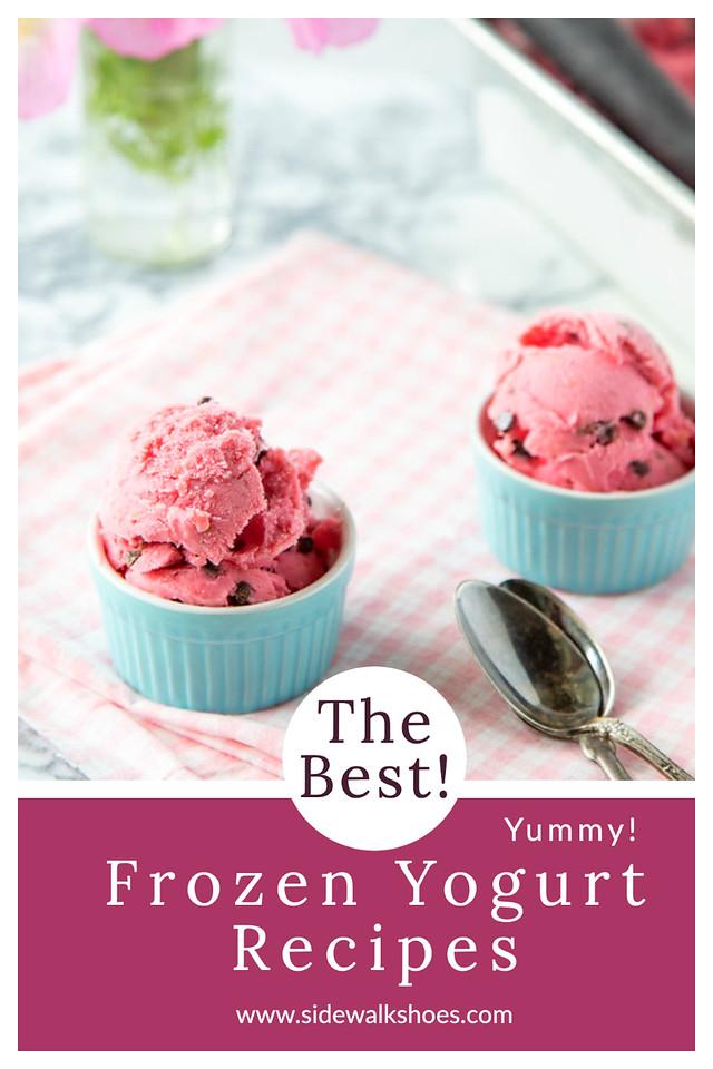 Two bowls of pink frozen yogurt with text reading frozen yogurt recipes.