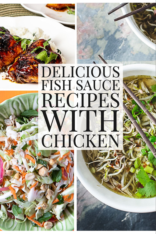 Photo collage of food with text reading Delicious fish sauce recipes with chicken.