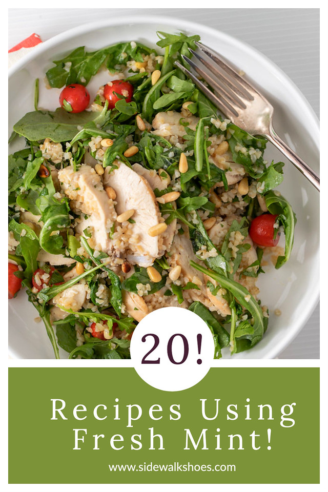 Salad with chicken and mint and text reading recipes using fresh mint.