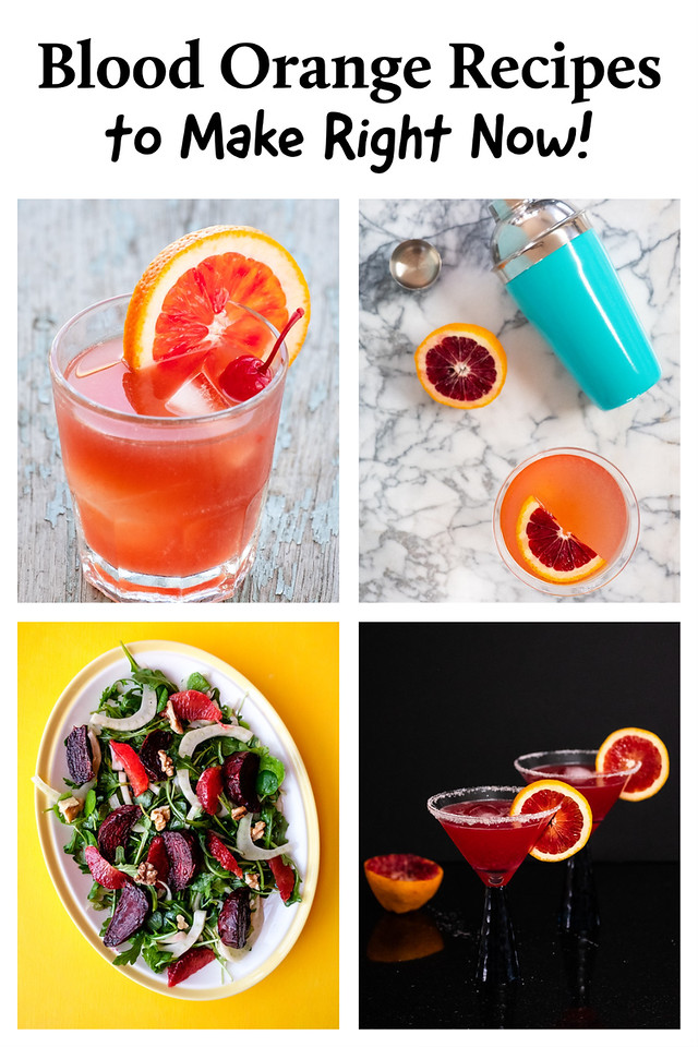 A photo collage of four blood orange recipes with text.