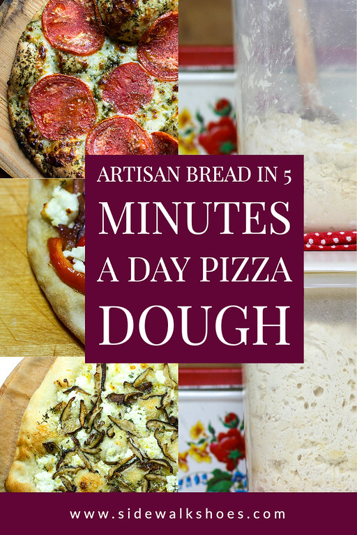 Photo collage showing pizzas and dough in a container.