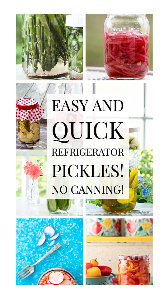 Photo collage of vegetables in jars with text reading, easy and quick refrigerator pickles no canning!