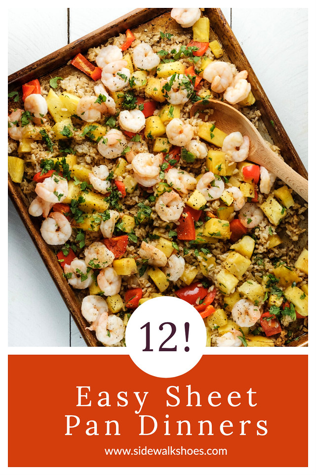 """Photo collage with text overlay reading """"12 easy sheet pan dinners."""""""