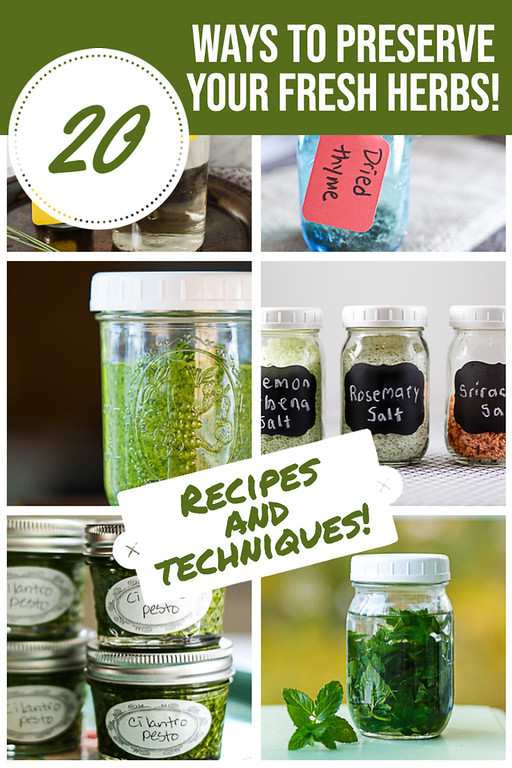Photo collage of preserved herbs with text overlay.
