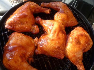 Apple wood smoked chicken leg quarters.  Custom BBQ rub. (6-26-11)