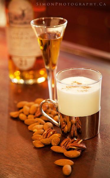 Scottish Embrace, Glengarioch 21 year single malt scotch, hazulnut syrup, steamed milk and espresso.