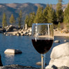 Wine glass on the rocks at Lake Tahoe