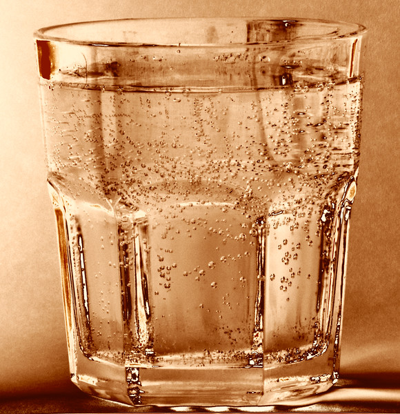 Glass of water with bubbles