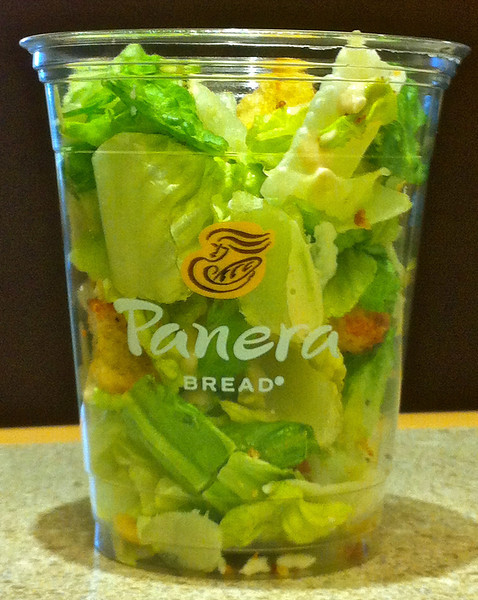 Salad on the run... yes, Caesar salad in a cup.