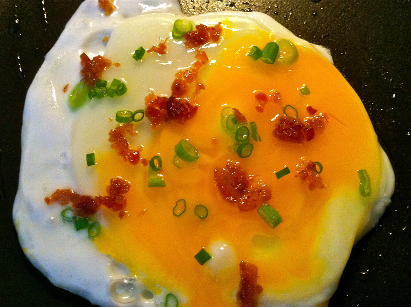 Upgraded fried egg with scallions and bacon