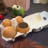 Chocolate eggs, literally real egg shells filled with chocolate!