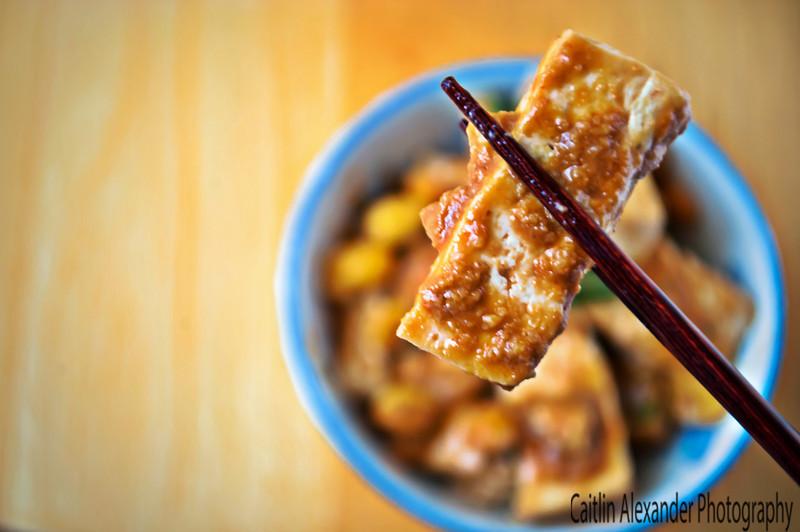 Peanut butter srirachi tofu