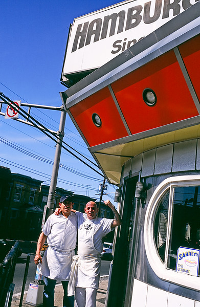 The short order cooks of the White Mana Hamburgers on 1 & 9 in Jersey City, NJ. 480 Tonnele Avenue, Route 1, Jersey City, NJ, 201-963-1441