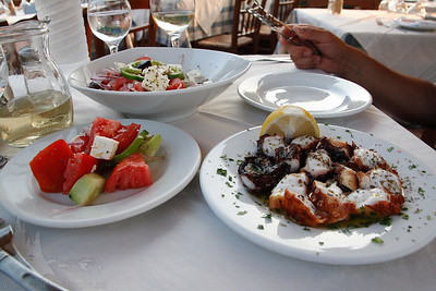 Greek salads and grilled octopus!