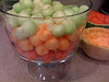 Bunco prep #3: Melon balls and baby lunch.  Patrick loved the fruit scraps!