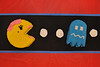 """Cake #5: Jim's birthday cake!  He always wanted a Ms. PAC-MAN """"table"""".  Hehe!"""