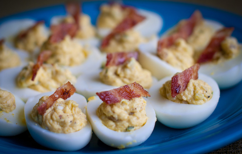 Deviled Eggs with cucumber and bacon fat mixed right in.  By Chef Dan Amighi