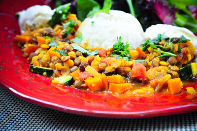 Red lentil dahl with basmati rice