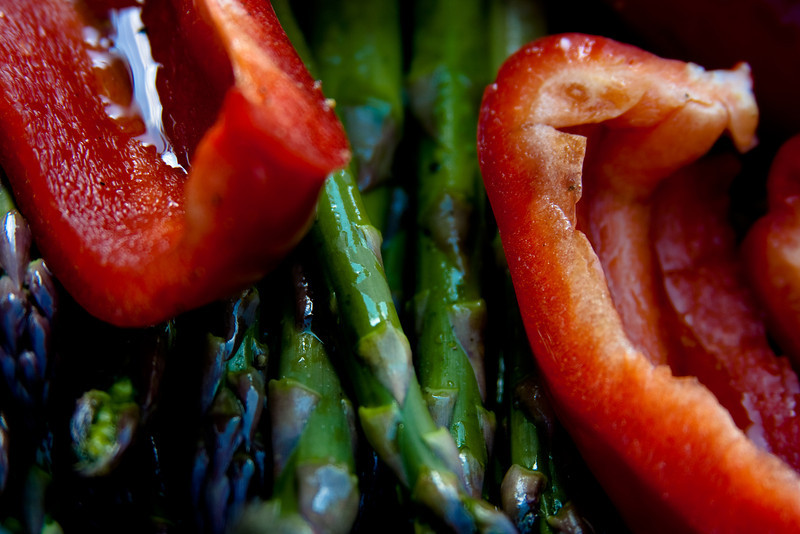 Grilled vegetables: Red Peppers and Asparagus