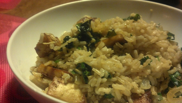 Brown Rice Bowl with Lemongrass, Tofu, and Cashews. And Kale.