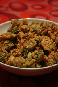 Batch 2 of fried okra: this had a little sugar, cumin, chili powder & cayenne in the cornmeal. YUM!
