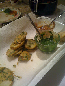 Potato pakora with mango chutney, and coriander chutney.