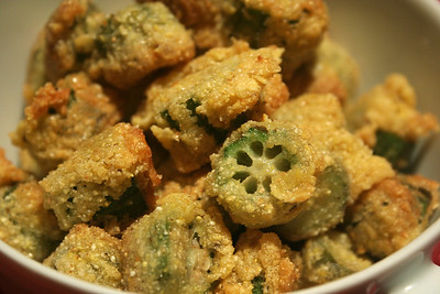 Fried okra, smiling at me.