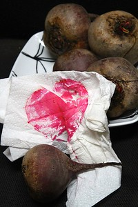 Today is egg pickling day!! This is what happened when I set a fresh cut beet down for a few minutes on a paper towel.  I HEART BEETS!!!