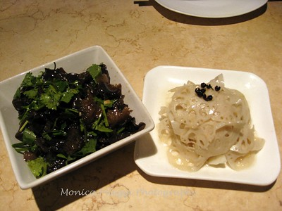 Ear mushrooms w/cilantro; Fried lotus root - Noodle Loft Restaurant