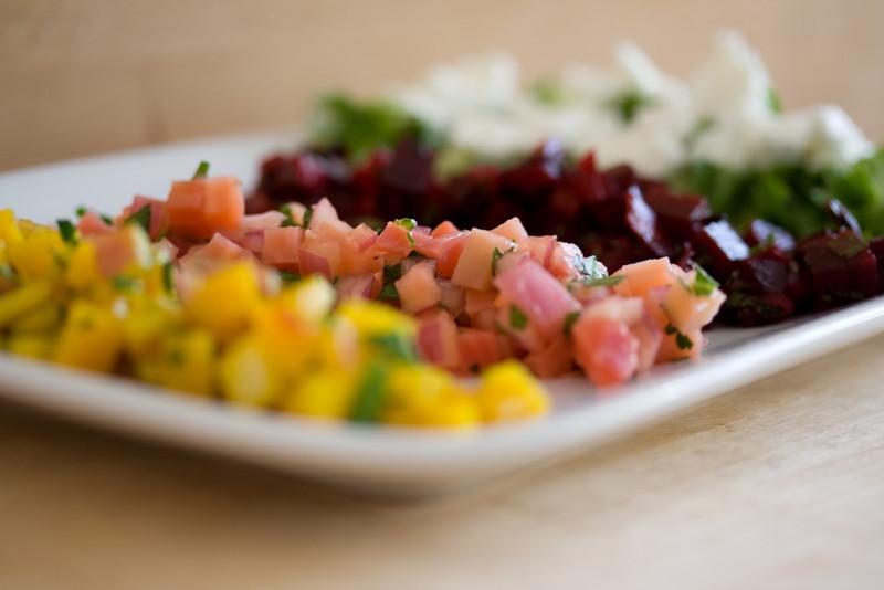 Beet salad, segregated