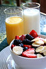 Healthy fruit and mile breakfast