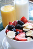 Healthy fruit and milk for breakfast